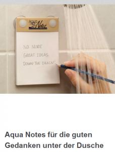 Notizenblock unter der Dusche