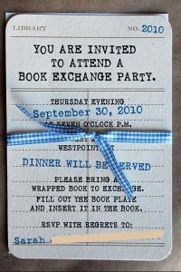 Book Exchange Party, die aussieht wie ein Bibliotheksausweis
