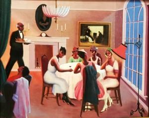 Gemälde von schwarzen Frauen, die sich von einem Butler bedienen lassen