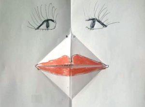 gezeichnetes Frauengesicht