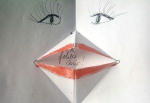 gezeichnetes Frauengesicht mit geöffnetem Mund: Du fehlst mir so
