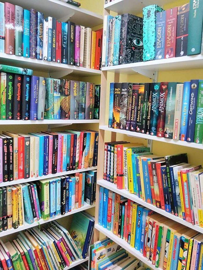 gefüllt Bücherregale