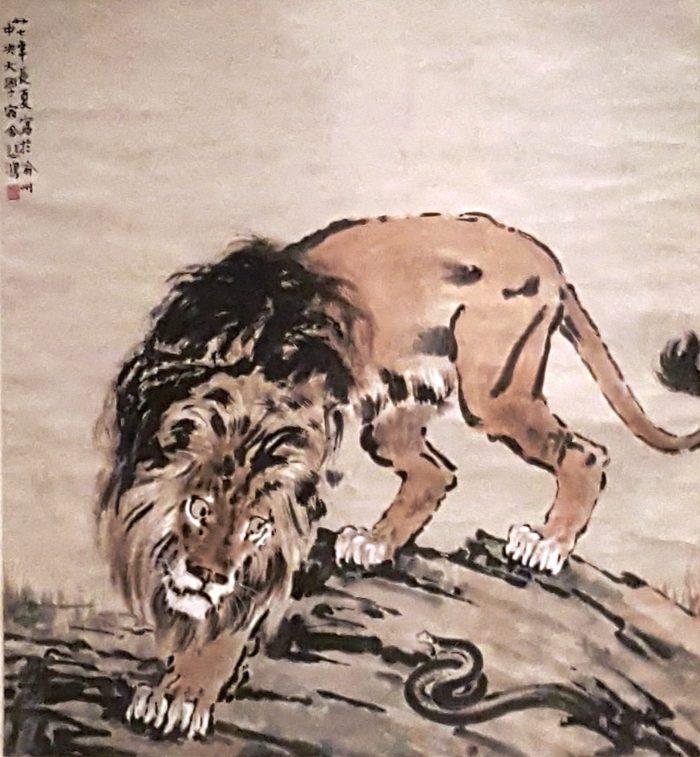 gezeichneter Löwe im Museum