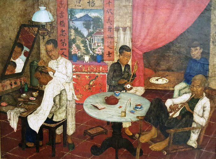Gemälde eines Friseurladens