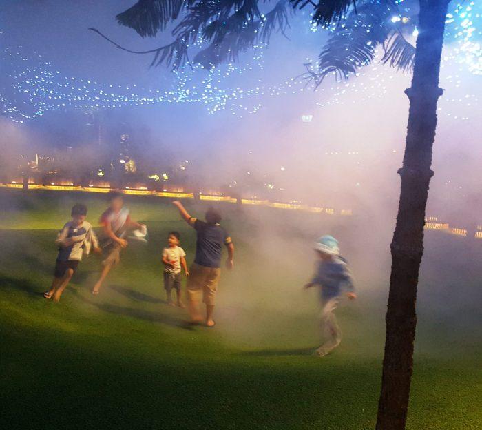 kinder im nebel spielend