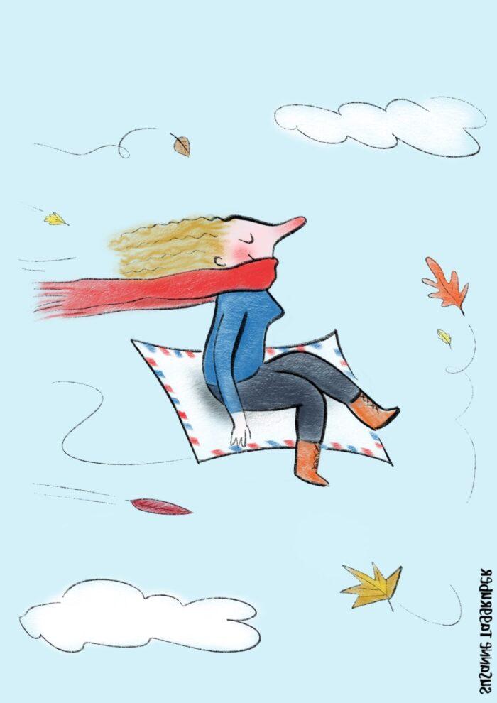 Zeichnung einer Frau auf einem Fliegenden Teppich