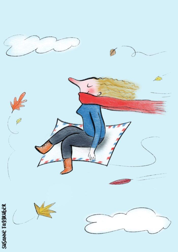 Frau auf fliegendem teppich