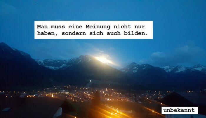 unser Wochenspruch in den Allgäuer Alpen, im Winter, bei nacht